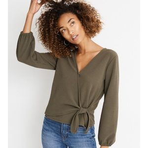 NWT Madewell's Texture & Thread Crepe Wrap Top